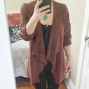Faux Suede Chocolate Open Front Blouse Jacket